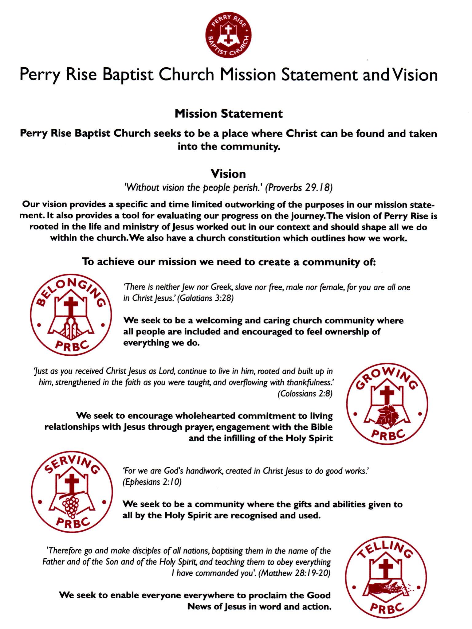 Perry Rise Baptist Church Vision